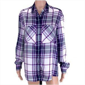 Express Purple Plaid Button Down Shirt Top Size XS